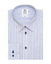 ブルー系●形態安定 ノーアイロン 長袖ワイシャツ レギュラー 白×ブルーストライプ○BM017101CP11R1A