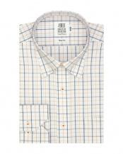 イエロー系●形態安定 ノーアイロン 長袖ワイシャツ ドゥエボットーニ スナップダウン 白×ブルー、オレンジチェック○BM016500AB11N3A