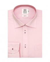 ピンク系●形態安定 ノーアイロン 長袖ワイシャツ ワイド ピンク×無地調○BM016701CP11W3A