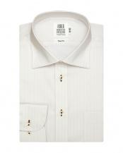 イエロー系●形態安定 ノーアイロン 長袖ワイシャツ ワイド 白×イエローストライプ○BM016702CP11W3A