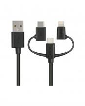 ブラック●「スマートフォン用USBケーブル」 3in1/microUSB+Type-C+Lightning/1.2m○LHC-AMBLCAD12BK