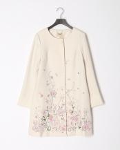ベージュ●フラワー刺繍ノーカラージャケット○51101902