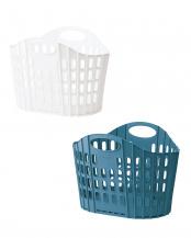 ホワイト/ブルー 折りたためる ランドリーバスケット2色セット
