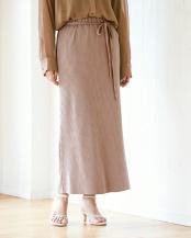 ベージュ●リブナロースカート○BVXU0678