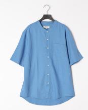 SLATE BLUE●麻レーヨン バンドカラーS/Sシャツ○SBST-106