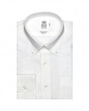 ホワイト系●形態安定 ノーアイロン 長袖ワイシャツ Wガーゼ ボタンダウン○BM019200AC11B4G