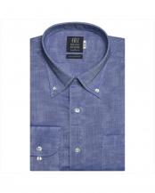 ブルー系●形態安定 ノーアイロン 長袖ワイシャツ Wガーゼ ボタンダウン○BM019203AC12B4G