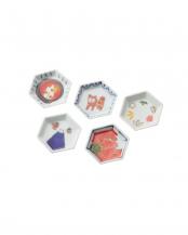 日本縁起絵変り 六角豆皿揃○4965089871124
