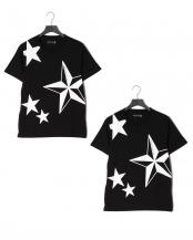 black●星柄Tシャツ×2枚セット○PST-901D/PST-901D