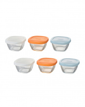 耐熱ミニ角小鉢シリコーンフタ付き 6個セット○MKK-SI-2024