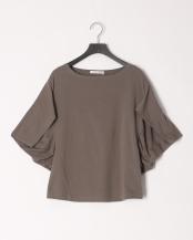 カーキ●変形ボリュウム袖カットソーTシャツ○20965