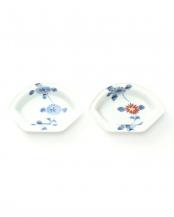 藍・錦立花 ペア扇小皿○4965089871421