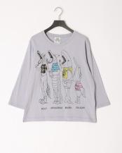パープル●デジタル柄ロングスリーブTシャツ○101043