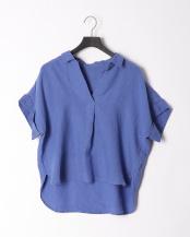 ブルー●フレンチリネンスキッパーカラーシャツ○02-1663