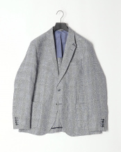 NAVY/WHITE●LINEN CHECK JKT○HM441995R