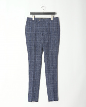 BLUE●LINEN CHECK TRS○HM470040