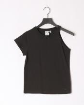 BLACK●ONE-SHOULDER S/S TEE○05192320