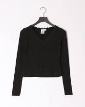 BLACK●LACE TRIM V-NECK TOP○05193308