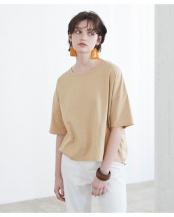 ベージュ●コットンカットソーオーバーサイズTシャツ○AVJN0216