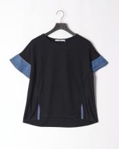 ネイビー●falsetto 袖異素材コンビネーションプルオーバー○FA20S-105