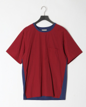 ブルー●COOL MAX カノコシルケット   カノコ×布帛コンビTシャツ○01082037