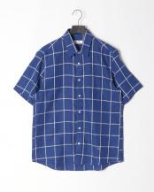 ブルー●麻ウインドウペンシャツ○316P5302
