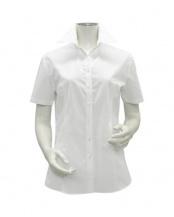 ホワイト系●ウィメンズシャツ 半袖 形態安定 スキッパー衿 白無地・ブロード(透け防止)○BL01X901AB40K0A