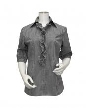 グレー系●ウィメンズ 五分袖 形態安定 フリル付 デザインシャツ スキッパー衿 白×黒チェック○BL028100DB34K30