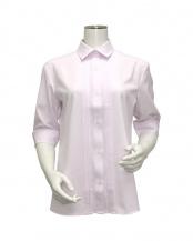ピンク系●ウィメンズ 五分袖 形態安定 デザインシャツ レギュラー衿 ピンク×小紋織柄○BL028101DB34R20