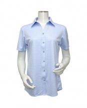 ブルー系●ウィメンズシャツ 半袖 ニットシャツ スキッパー衿 白×サックスチェック○BL068100CP40K2A