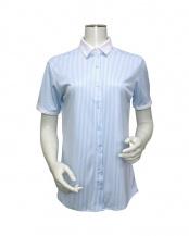 ブルー系●ウィメンズシャツ 半袖 ニットシャツ クレリック レギュラー衿 白×サックスストライプ○BL068100CP40R2A