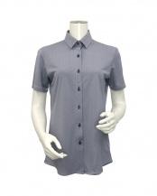 ブルー系●ウィメンズシャツ 半袖 ニットシャツ レギュラー衿 白×ネイビー織柄○BL069100CP40R20