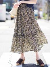 ネイビー●ペイズリープリントティアードスカート[WEB限定サイズ] a.v.v○K2HGG22059