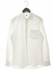 ホワイト 40オックスワイドカラーシャツ a.v.v HOMME○KWBKG01049