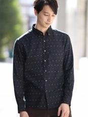 ブラック オリジナルプリントキモウシャツ[WEB限定サイズ] a.v.v HOMME○KHBLG14039