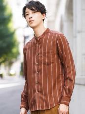 ブラウン●ストライプバンドカラーシャツ a.v.v HOMME○KHBLG12039