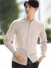 ベージュ●オックスキモウバンドカラーシャツ a.v.v HOMME○KHBLG17039