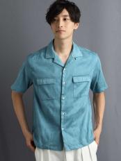 グリーン●ライトスウェードオープンカラシャツ[WEB限定サイズ] a.v.v HOMME○KHBGG42049