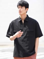 ブラック●ハーフジップシャツ a.v.v HOMME○KHBGG49059