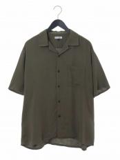カーキ●レーヨンアサオープンカラーシャツ a.v.v HOMME○KHBHG51044