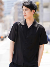 ブラック●レーヨンアサオープンカラーシャツ a.v.v HOMME○KHBHG51044