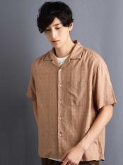 ベージュ●アロハガラプリントオープンカラーシャツ a.v.v HOMME○KHBHG52049