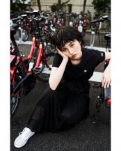 ブラック●<ROSE BUD別注>チャンピオンフレンチスリーブトップス R/B(オリジナル)○6000113021