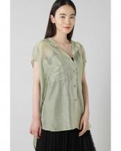 ライトグリーン●バンドカラーシアーシャツ R/B(バイイング)○6010110022