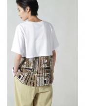 ホワイト●バックプリントプリーツTシャツ R/B(バイイング)○6010113057