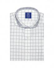 グレー系●形態安定 ノーアイロン 半袖ビジネスワイシャツホリゾンタル ワイド 白×ネイビーチェック 新体型○BM019200AA45Z1A