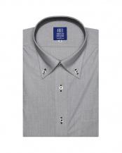 グレー系●形態安定 ノーアイロン 半袖ビジネスワイシャツボタンダウン グレー×白ダイヤチェック 新体型○BM019200AB45B1A