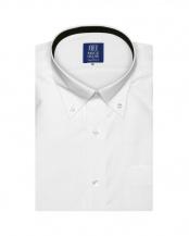 ホワイト系●形態安定 ノーアイロン 半袖ビジネスワイシャツボタンダウン 白×チェック織柄(透け防止) 新体型○BM019201AC45B1S