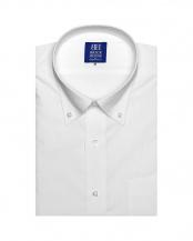 ホワイト系●形態安定 ノーアイロン 半袖ビジネスワイシャツボタンダウン 白×小紋織柄(透け防止) 新体型○BM019204AK45B1S