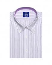 パープル系●形態安定 ノーアイロン 半袖ビジネスワイシャツ  ボタンダウン 白×パープルストライプ 新体型○BM019205AA45B1A